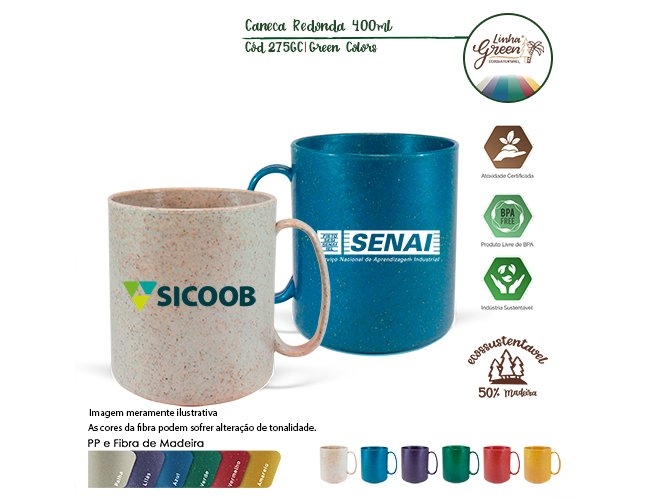 Caneca Redonda 400ml Green Colors Madeira 275GC-003